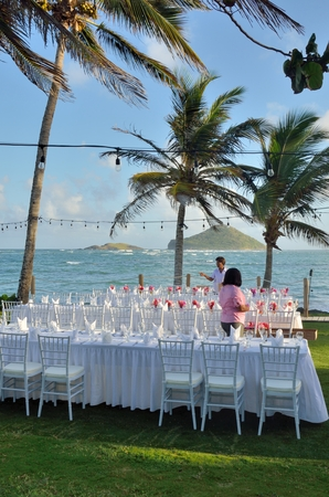 st lucia: ST LUCIA CARIBBEAN 25  January  2015:  Preperations for wedding breakfast in Caribbean Editorial