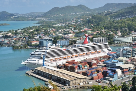 st lucia: CASTRIES ST LUCIA CARIBBEAN 19  January  2015:  Large Ocean liner  in Capital of St Lucia Editorial