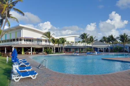st lucia: ST LUCIA CARIBBEAN 23  January  2015: Holiday complex in caribbean island of st lucia with swimming pool complex Editorial