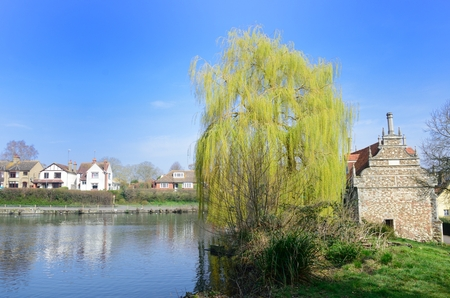 bourne: Bourne Mill and mill pond Stock Photo