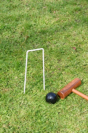Croquet hoop Mallet and ball photo
