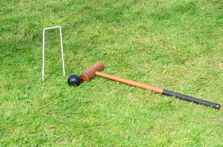 Croquet Hoop mallet and ball in landscape photo