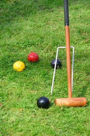 yard stick: Croquet mallet with balls