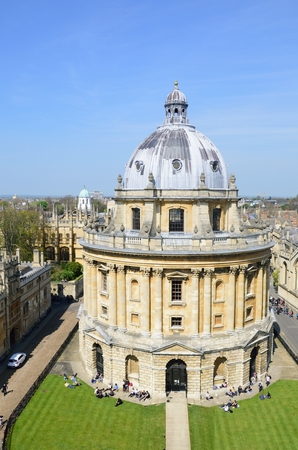 oxford: OXFORD ENGLAND  20 April 2015:  Radcliffe camera from Church Tower