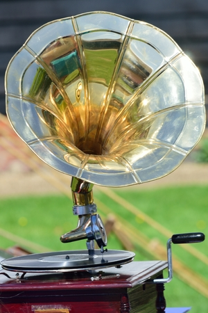 antique phonograph: Vintage wind up gramophone player