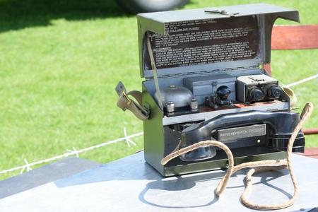 telephone: Vintage field telephone Stock Photo