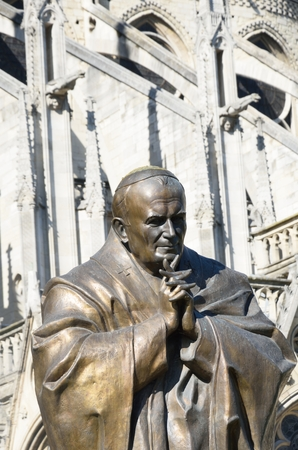 pontiff: Statue of John Paul II outside Notre dame