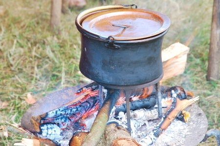 pioneers: Cooking Pot on outdoor Open Fire