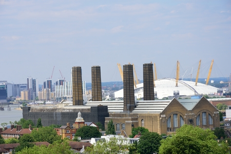 greenwich: Greenwich power station and O2 in background Stock Photo