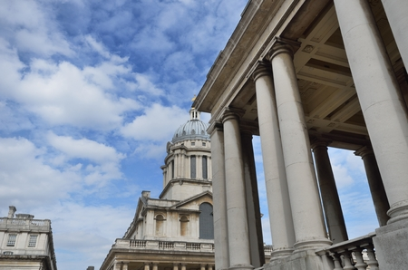 greenwich: Greenwich Naval College with pillars in Foreground