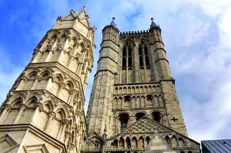 lincoln: Looking up at Lincoln Cathedral Stock Photo