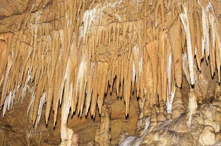 Stalactites in underground cave