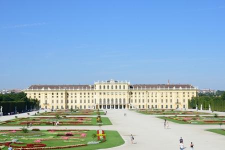 schloss schonbrunn: SCHONBRUNN PALACE VIENNA AUSTRIA 29 AUGUST  2015: SCHONBRUNN palace Vienna from rear