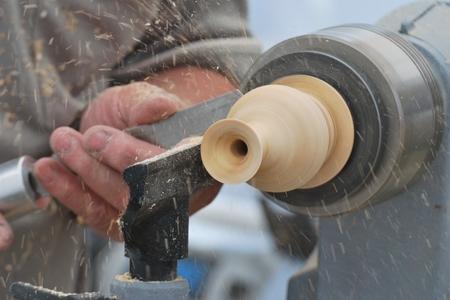 wood turning: Preparing wood on lathe