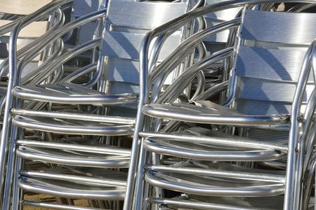 aluminium: Stacked aluminium chairs