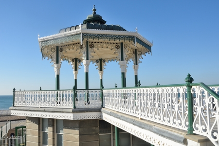 bandstand: Wrought metal bandstand by sea