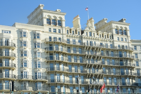 brighton: BRIGHTON SUSSEX  UK 29 September  2015: Grand Hotel on seafront
