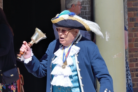 ringing: MALDON ESSEX UK 1 August 2015: Traditional English Towncrier ringing Bell Editorial