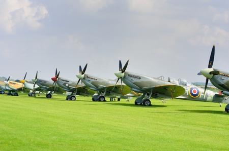 cambridgeshire: DUXFORD CAMBRIDGESHIRE UK 20  August 2015: Line up of historic World War 2 spitfires Editorial