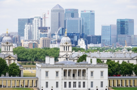 greenwich: GREENWICH LONDON 25 June 2015: View of Canary Wharf from Royal Observatory Editorial