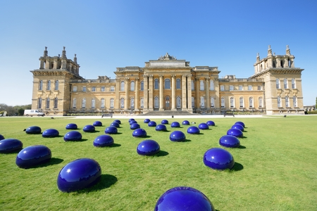 woodstock: BLENHEIM PALACE WOODSTOCK OXFORD UK 21 April 2015: Blenheim palace with modern art installation Editorial