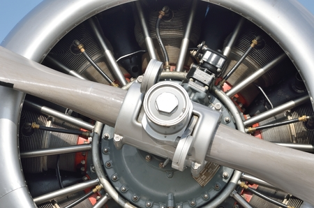 engine: Detail of aircraft propellor Engine Stock Photo
