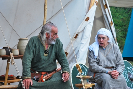 anglo saxon: ESSEX ENGLAND  21 JUNE 2015: Mature Couple in Saxon re-enactment clothing