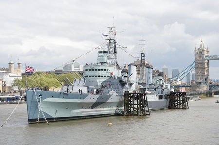 hms: LONDON THAMES  ENGLAND 9 MAY 2015: HMS Belfast on Thames Editorial
