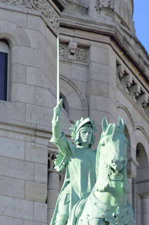 sacre: statue outside sacre couer paris Stock Photo