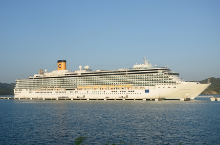 deliziosa: AMBER COVE DOMINICAN REPUBLIC  8 FEBRUARY  2016: Costa Deliziosa Cruise ship docked at Amber Cove Editorial