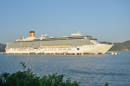 deliziosa: AMBER COVE DOMINICAN REPUBLIC  8 FEBRUARY  2016: Costa Deliziosa Cruise ship at Amber Cove Editorial