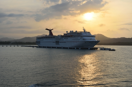 ecstasy: AMBER COVE DOMINICAN REPUBLIC 9 FEBRUARY  2016: Carnival ecstasy Cruise Ship at dusk Editorial