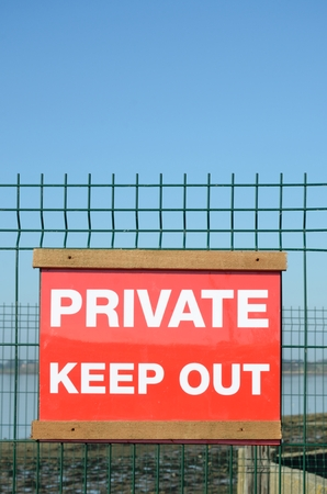 keep gate closed: Private sign to keep out Stock Photo