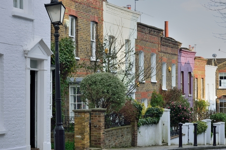 townhouses: Row of English Victorian Townhouses Stock Photo