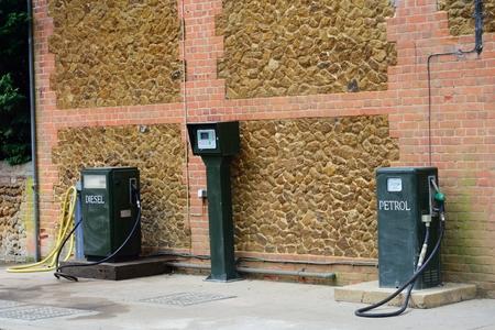 diesel: Vintage green Petrol and Diesel pumps