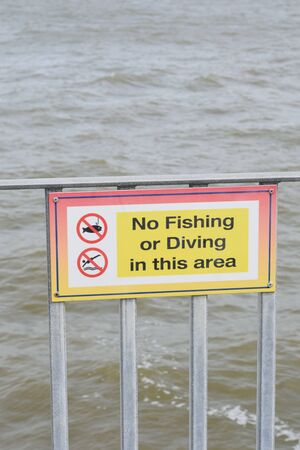 No fishing or diving sign Stock Photo