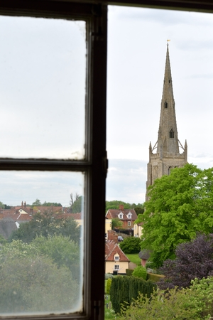 spire: Church Spire from Antique window Stock Photo