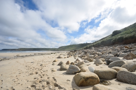 sennen: Beach with large rocks in foreground