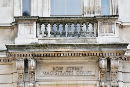 magistrates: Sign above doorway of Bow Street Magistrates court Stock Photo