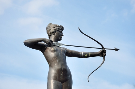 diana: Statue of Huntress Diana with Blue Sky