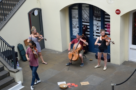 the quartet: Covent Garden London England, United Kingdom - August 16, 2016: String Quartet playing  in convent garden central piazza Editorial
