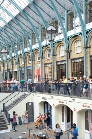 the quartet: Covent Garden London England, United Kingdom - August 16, 2016:  String Quartet playing in Covent Garden Piazza Editorial