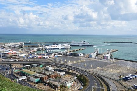 dover: Dover, United Kingdom - October 1, 2016:  Overlooking Dover Harbour from Castle