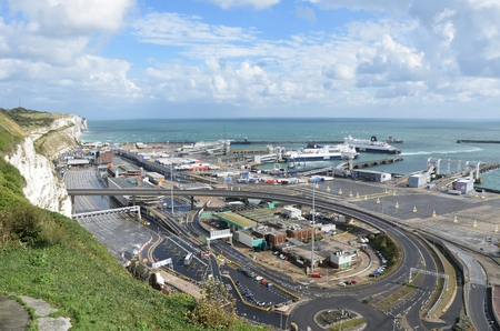 dover: Dover, United Kingdom - October 1, 2016:  Overlooking Dover Harbour Channel port Editorial