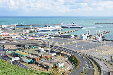 dover: Dover, United Kingdom - October 1, 2016:  Overlooking Dover Harbour