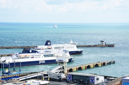 dover: Dover, United Kingdom - October 1, 2016: Ferries in Dover Harbour