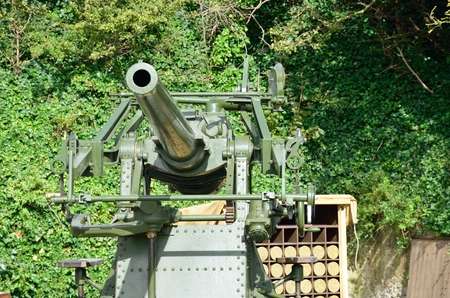 World war two anti aircraft gun with shells Stock Photo