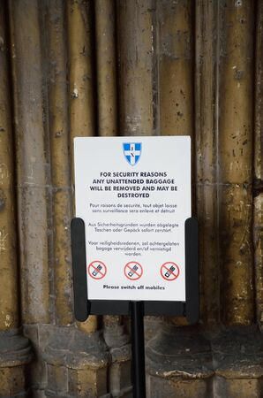 lockdown: Canterbury  , United Kingdom - September 30, 2016: Terrorist alert sign at Entrance to Canterbury Cathedral