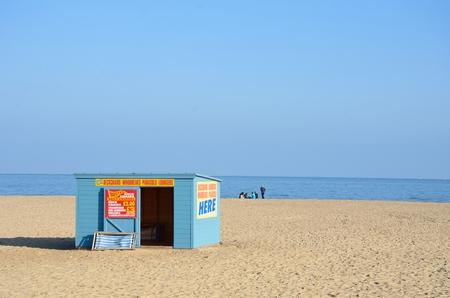 Great Yarmouth  Norfolk  , United Kingdom - October 25, 2016:  Deckchair Hire hut on Beach at Great Yarmouth Norfolk Uk