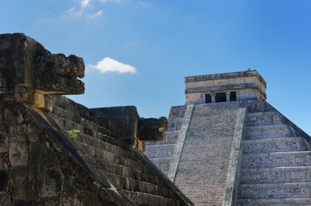 Chichen Itza wall and temple in background 写真素材